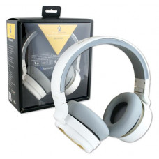 Base Booster Foldable Stereo Bluetooth Headphones white with mic