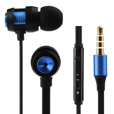 Volkano Alloy Series Metallic Finish Earphones With Microphone & Call Function - Blue -