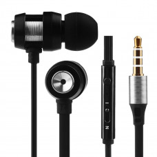 Volkano Alloy Series Metallic Finish Earphones With Microphone & Call Function - Silver -