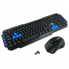 Jedel WS880 Wireless Gaming Keyboard and 3 Button Mouse Set - Black/Blue