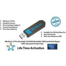 Microsoft Windows 10 Pro Professional Key 32/64 Bit Genuine License Bootable Usb